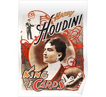 Harry Houdini Master of Cards Vintage Poster