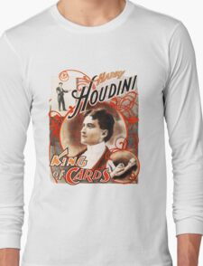 Harry Houdini Master of Cards Vintage Long Sleeve T-Shirt