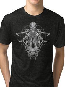 Cthulhu / Kraken in Black and White Tri-blend T-Shirt