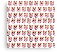 Cute girly pink orange white owl pattern  Canvas Print