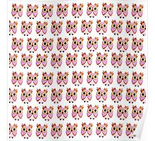Cute girly pink orange white owl pattern  Poster