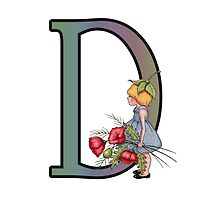 Intial D, Girl with Poppies, Color Pencil Monogram Art by Joyce Geleynse