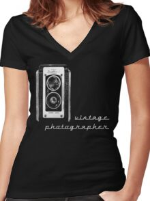 vintage photographer  Women's Fitted V-Neck T-Shirt