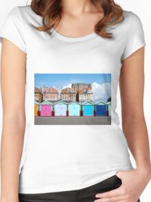 Beach Huts  Women's Fitted Scoop T-Shirt