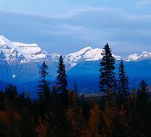 Snowy peaks at dusk by zumi