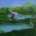 Blue Heron in Florida by William  Boyer
