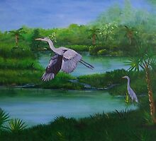 Blue Heron in Florida by William  Boyer