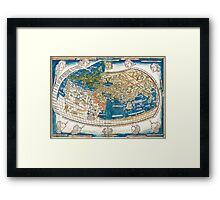 4th edition of Ptolemy's Cosmographia  by Leinhart Holle, dated 1482 Framed Print