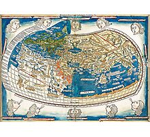 4th edition of Ptolemy's Cosmographia  by Leinhart Holle, dated 1482 Photographic Print