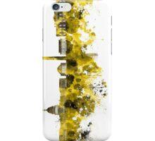 Washington DC skyline in yellowe watercolor on white background  iPhone Case/Skin