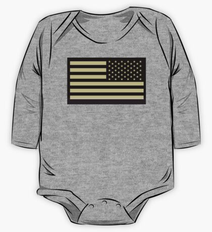 AMERICAN ARMY, Soldier, American Military, Arm Flag, US Military, IR, Infrared, USA, Flag, Reverse side flag, on BLACK One Piece - Long Sleeve