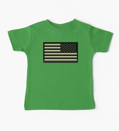 AMERICAN ARMY, Soldier, American Military, Arm Flag, US Military, IR, Infrared, USA, Flag, Reverse side flag, on BLACK Baby Tee