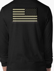 AMERICAN ARMY, Soldier, American Military, Arm Flag, US Military, IR, Infrared, USA, Flag, Reverse side flag, on BLACK Long Sleeve T-Shirt