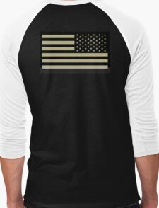 AMERICAN ARMY, Soldier, American Military, Arm Flag, US Military, IR, Infrared, USA, Flag, Reverse side flag, on BLACK Men's Baseball ¾ T-Shirt
