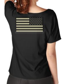 AMERICAN ARMY, Soldier, American Military, Arm Flag, US Military, IR, Infrared, USA, Flag, Reverse side flag, on BLACK Women's Relaxed Fit T-Shirt