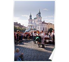 Folk dancing in Prague square Poster