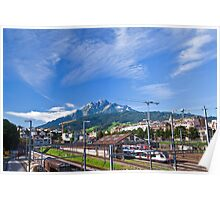 Pilatus Mountian seen from downtown Luzern Poster
