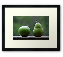 The Apple & Pear Sat Quietly Taking in the View... Framed Print