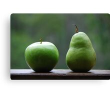 The Apple & Pear Sat Quietly Taking in the View... Canvas Print