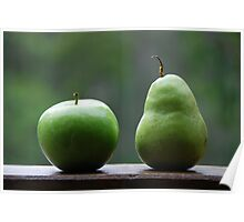 The Apple & Pear Sat Quietly Taking in the View... Poster
