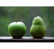 The Apple & Pear Sat Quietly Taking in the View... Photographic Print