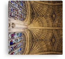 Stone vaulting, Kings College, Cambridge. Canvas Print