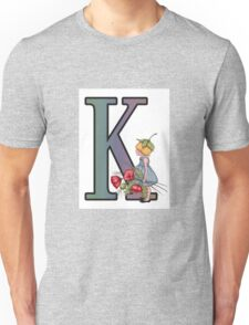 Initial K, Alphabet Letter, Girl with Poppies, Color Pencil Art Unisex T-Shirt