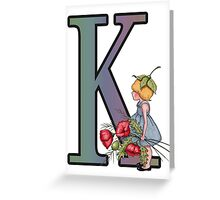 Initial K, Alphabet Letter, Girl with Poppies, Color Pencil Art Greeting Card