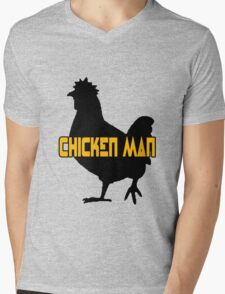 Chicken man geek funny nerd Mens V-Neck T-Shirt