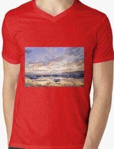sunset over the ice lake Mens V-Neck T-Shirt