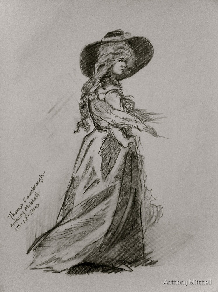 Hirl with Hat - Anthony Mitchell Drawing by Anthony Mitchell