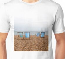 Grey Day with Deck Chairs Unisex T-Shirt
