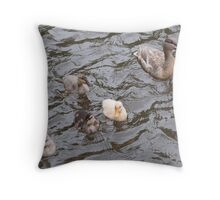 Mama Mallard Duck with Ducklings Throw Pillow