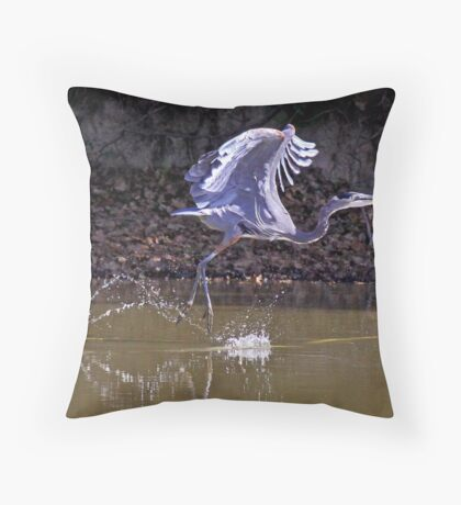 Great Blue Heron is Doing the Hop, Skip & Jump Throw Pillow