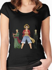 one piece straw hats luffy zoro sanji anime manga shirt Women's Fitted Scoop T-Shirt