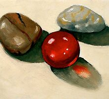 Red Marble with Stones: Still Life Painting by Joyce Geleynse