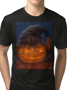Halloween ominously grinning pumpkin in a witch's hat Tri-blend T-Shirt