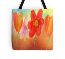 More Orange Flowers with One Pink Flower Tote Bag