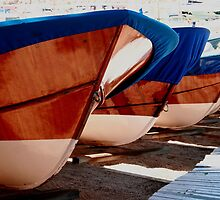 Fishing boat varnished bows Llfranc Spain by Paul Pasco