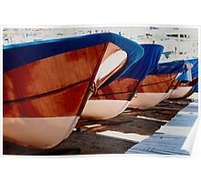 Fishing boat varnished bows Llfranc Spain Poster