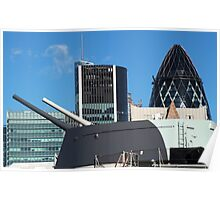 The guns of HMS Belfast with the City of London skyline behind Poster