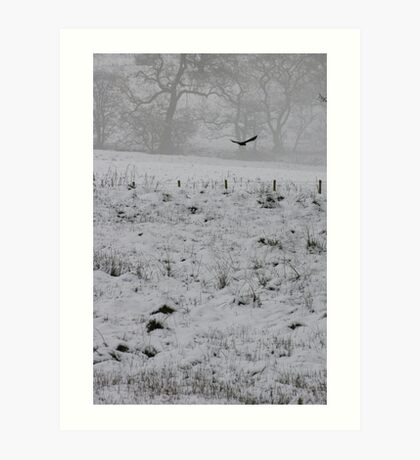 Crow in Snow Art Print