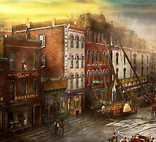 Fireman - Washington DC - Fire at Bedell's Bedding 1915 by Mike  Savad