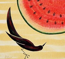 Black Bird and Watermelon  by Susan Greenwood Lindsay