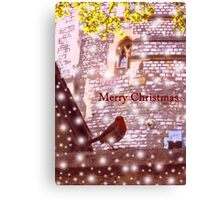 Merry Christmas: Robin in Snow at Windsor 2014 Canvas Print