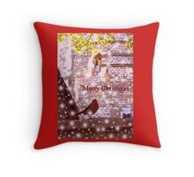 Merry Christmas: Robin in Snow at Windsor 2014 Throw Pillow