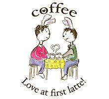Rabbits. Love At First Latte. Photographic Print
