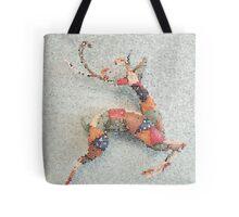 Patchwork Reindeer in the Snow Tote Bag