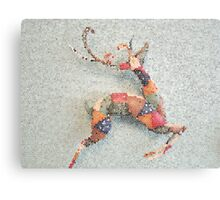 Patchwork Reindeer in the Snow Canvas Print