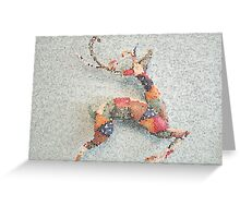 Patchwork Reindeer in the Snow Greeting Card